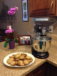 My new mixer and a batch of my chocolate chip cookies!