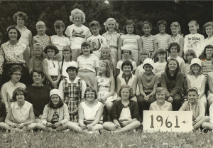 Camp Tapawingo 1961. Julie is sitting on far left, I am third on the left, and Betsy is next to me on left.